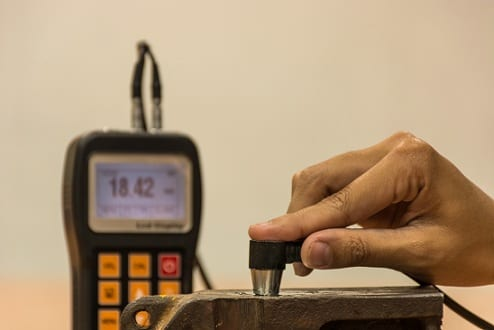Inspection thickness cast iron by ultrasonic thickness test